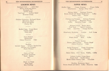 Luncheon & Supper Menus - The Enterprising Housekeeper - Click To View Larger