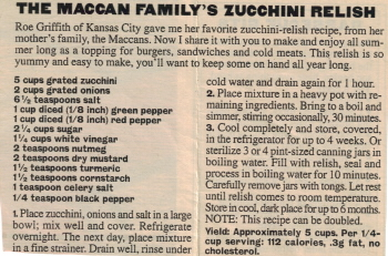 Zucchini Recipe Clipping