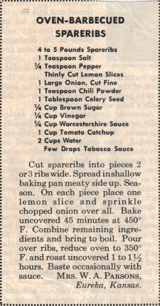 Oven BBQ Spareribs Recipe Clipping