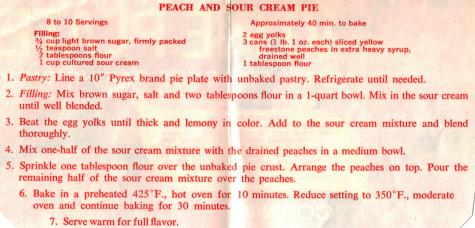 Peach & Sour Cream Pie Clipping - RecipeCurio.com