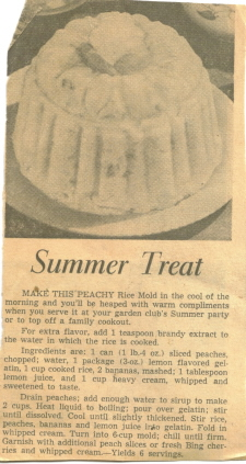 Peachy Rice Mold Newspaper Recipe Clipping