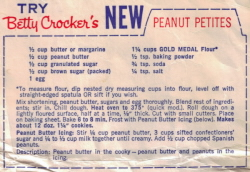 Betty Crocker's Peanut Petites Cookie Recipe - Click To View Larger