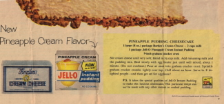 Jell-O Advertisement Recipe Pineapple Pudding Cheesecake - Click To View Larger