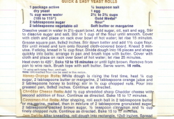 Quick & Easy Yeast Rolls Recipe Card