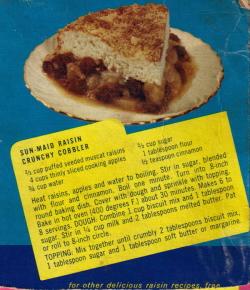 Vintage Recipe Raisin Crunchy Cobbler - Click To View Larger