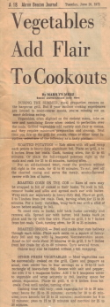Roasted Vegetables - Newspaper Clipping 1972 - Click To View Larger