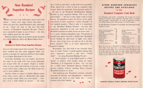 Rumford Sugarless Recipes - Side 1 - Click To View Large