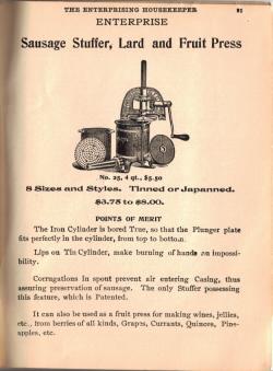 Sausage Stuffer, Lard & Fruit Press - Click To View Larger