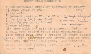 Typed Recipe Card For Seven Seas Casserole - Click To View Large