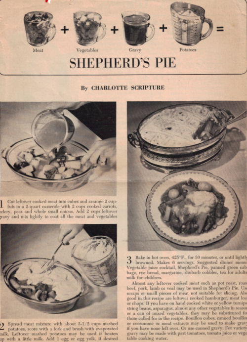 Shepherd's Pie Vintage Recipe - Click To View Larger Image