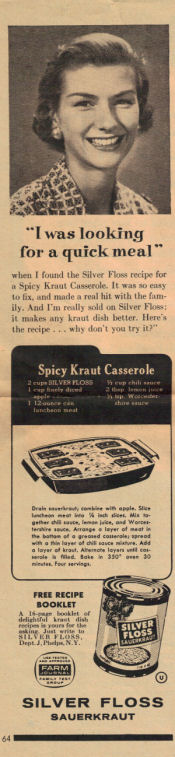 Spicy Kraut Casserole Recipe Clipping - Click To View Larger