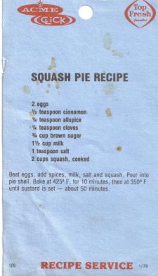 Squash Pie Recipe Card