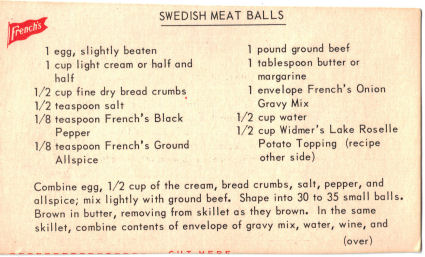 Swedish Meat Balls Recipe Card