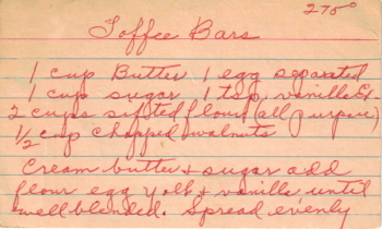 Toffee Bars Handwritten Recipe - Click To View Larger
