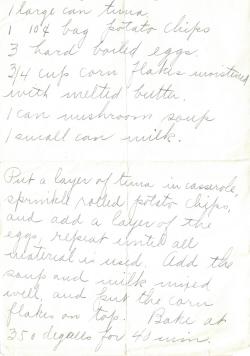 Tuna Casserole Handwritten Recipe
