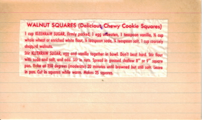 Walnut Squares Recipe