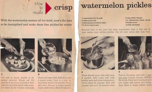 Crisp Watermelon Pickles Vintage Recipe - Click To View Larger Image